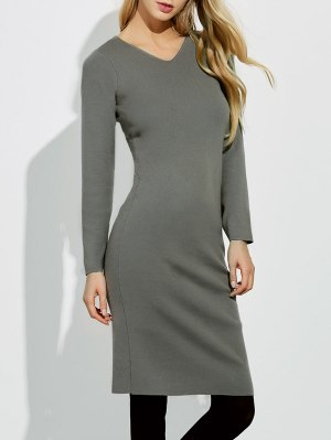 Midi Jumper V Neck Sheath Dress - Gray