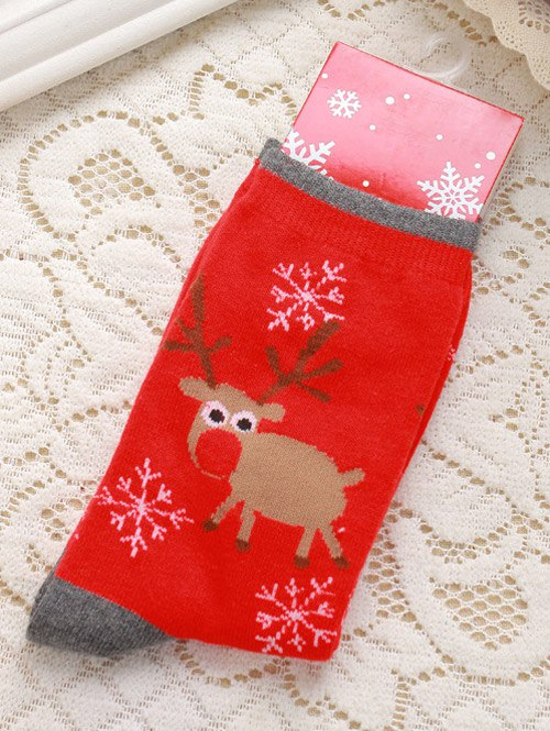 Pair of Knitted Deer Jacquard Christmas Socks