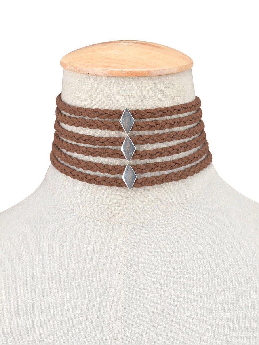 Layered Braid Rope Choker Necklace
