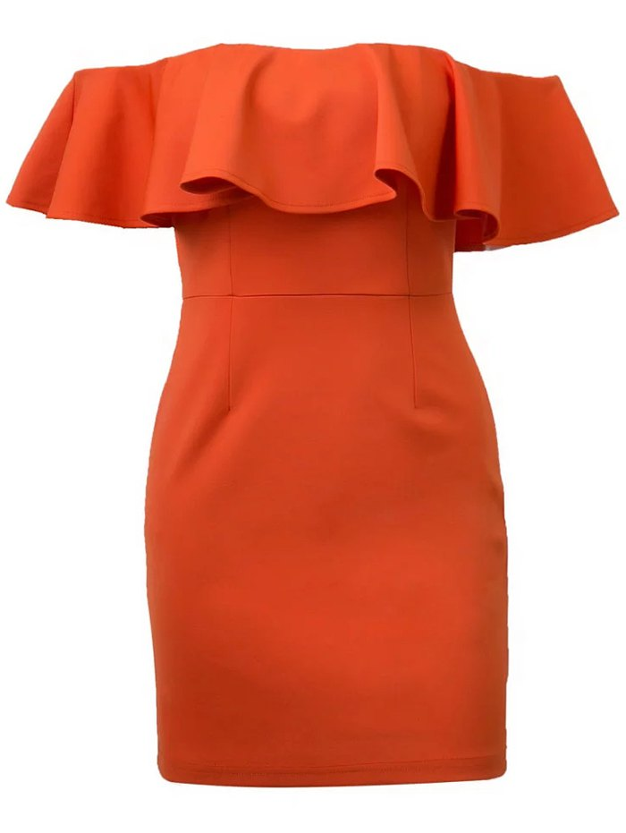 Off Shoulder Flounced Bodycon Dress