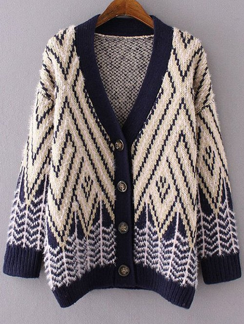 Chevron Stripe Fluffy CardiganClothes<br><br><br>Size: ONE SIZE<br>Color: YELLOW