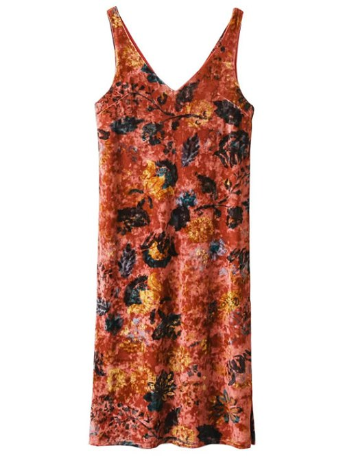 V Neck Velvet Printed Tank Dress