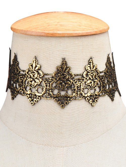 Shiny Hollow Floral Wide Choker
