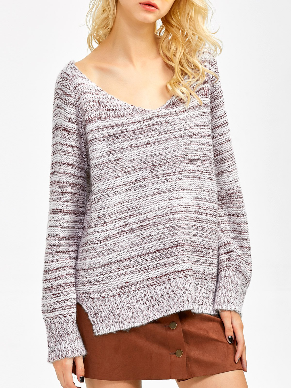 Heathered Asymmetrical Side Slit Sweater