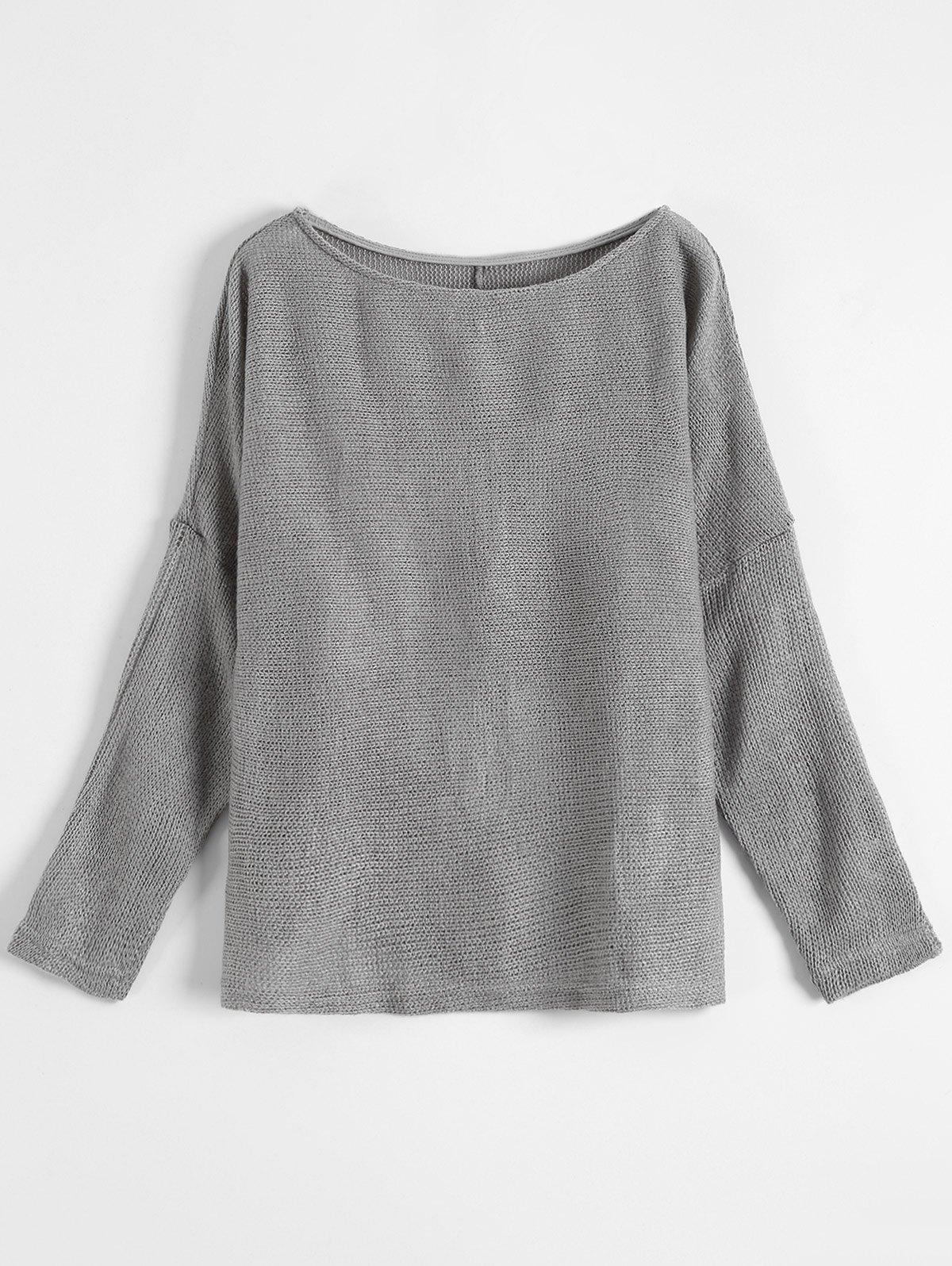Slash Neck Plain Sweater