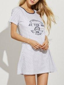 Striped Casual Night Dress - Light Gray M
