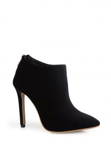Stiletto Heel Zipper Pointed Toe Ankle Boots - Black