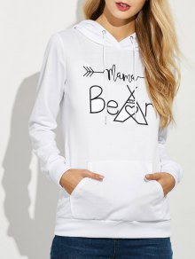 Casual String Hoodie With Letter Print - White L