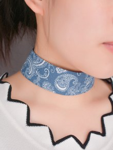 Graphic Print Denim Choker Necklace - Blue