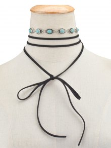 Faux Turquoise Bows Choker Necklace