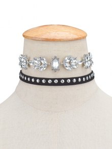 2PCS Faux Crystal Rivets Velvet Chokers