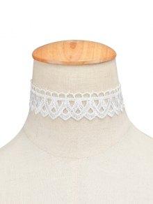 Vintage Lace Geometric Choker - White
