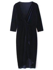Twist Front V Neck Velvet Dress