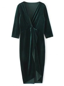 Twist Front V Neck Velvet Dress