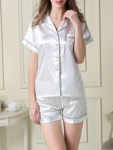 Short Sleeve Satin Boxer Pajama
