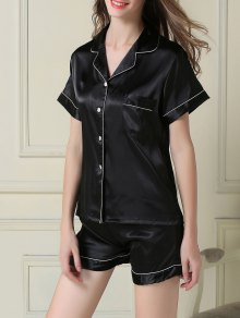 Short Sleeve Satin Boxer Pajama