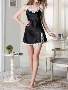 Lace Trimmed Satin Slip Sleep Dress - BLACK L