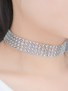 Four Layered Plastic Choker - Silver