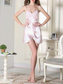 Lace Satin Slip Sleep Dress - PINK L