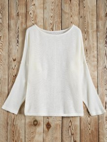 Slash Neck Pullover Sweater - White M