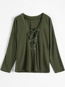 Buy Long Sleeves Lace Plunge Tee S ARMY GREEN
