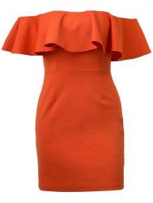 Robe Moulante Sans Épaule Plisée - Tangerine