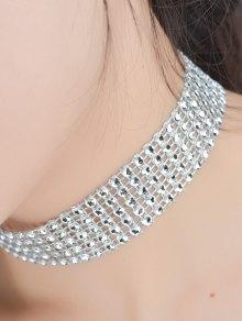 Multi Layered Plastic Choker - Silver