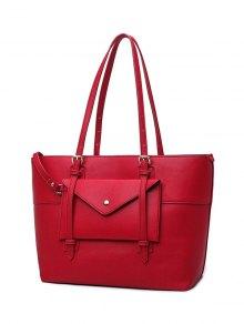 Buckle Strap PU Leather Handbag Set