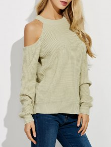 Cold Shoulder Crew Neck Ribbed Sweater - Beige M