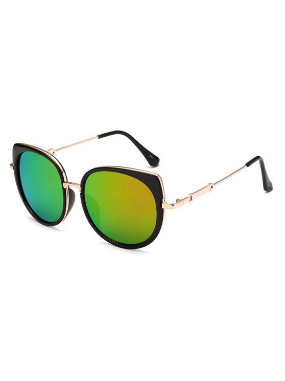 Gafas De Sol Marco Metálico Diseño Ojo De Gato Reflejantes - Verde Claro