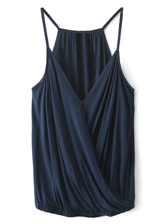V Neck Wrap Cami Top - CADETBLUE S Mobile