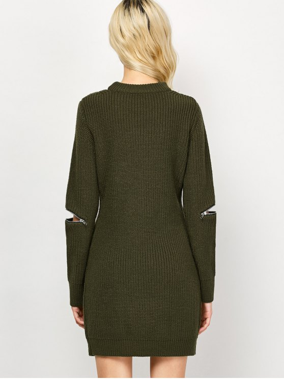 Choker Neck Mini Fitted Sweater Dress - ARMY GREEN M Mobile