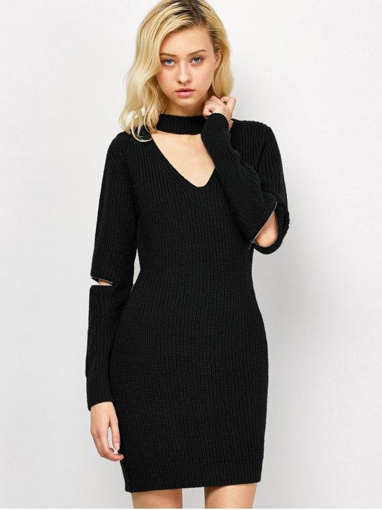shops Choker Neck Mini Fitted Sweater Dress - BLACK M