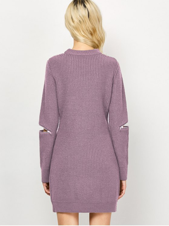 Choker Neck Mini Fitted Sweater Dress - PINK 2XL Mobile