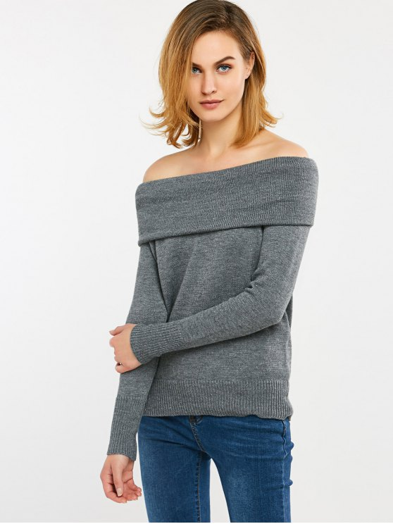 Convertible Off The Shoulder Sweater - GRAY M Mobile