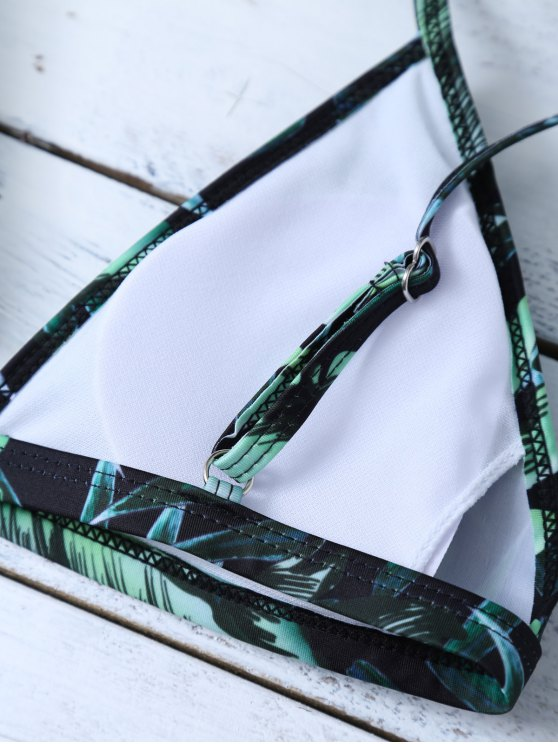 Printed Padded Spaghetti Strap Bikini - GREEN L Mobile