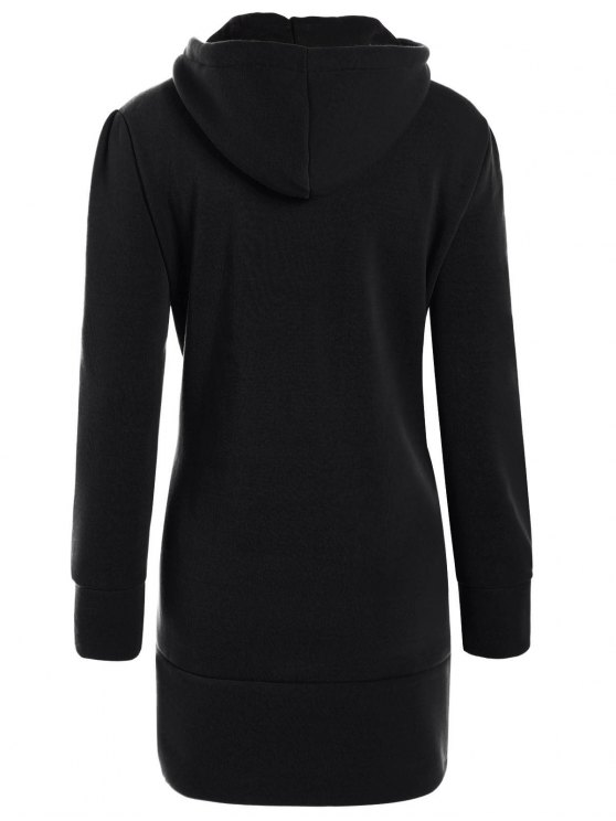 High Neck Drawstring Hoodie - BLACK S Mobile