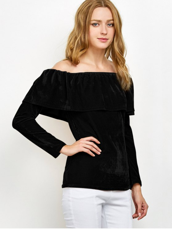 Velvet Off Shoulder Ruffles T-Shirt - BLACK L Mobile