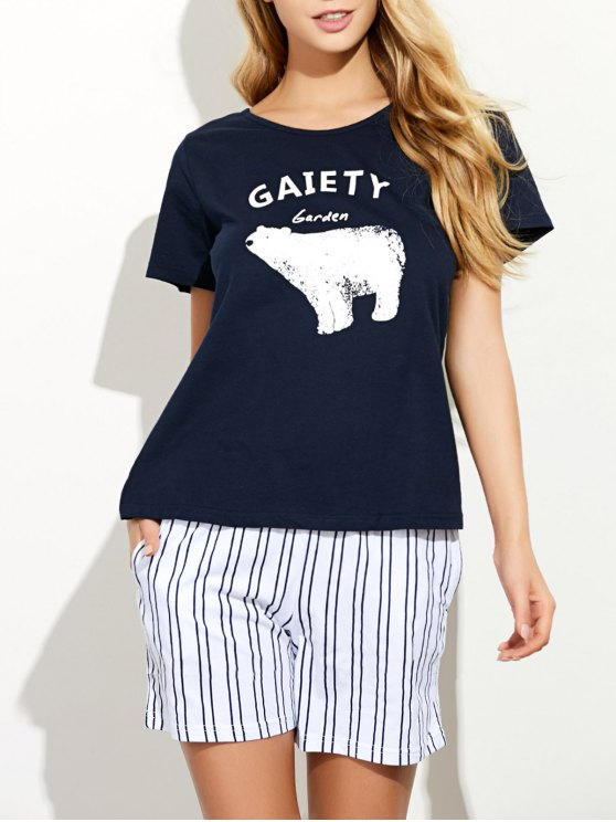 Cartoon Print T-Shirt and Striped Shorts - BLUE XL Mobile