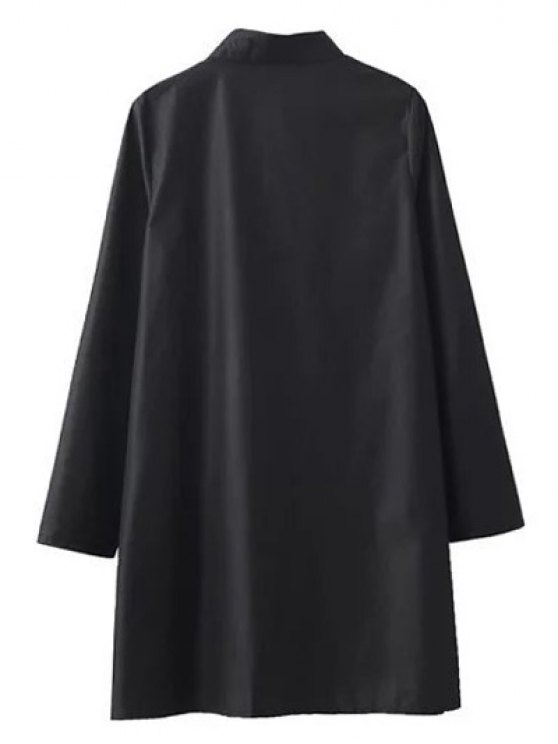 Floral Embroidered Long Sleeve A-Line Dress - BLACK S Mobile