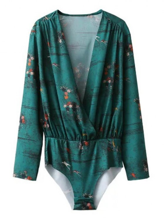 Printed Wrap Bodysuit - GREEN S Mobile