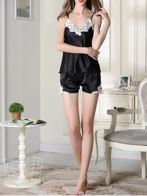 Satin Cami Top and Shorts Sleep Suit - BLACK XL Mobile