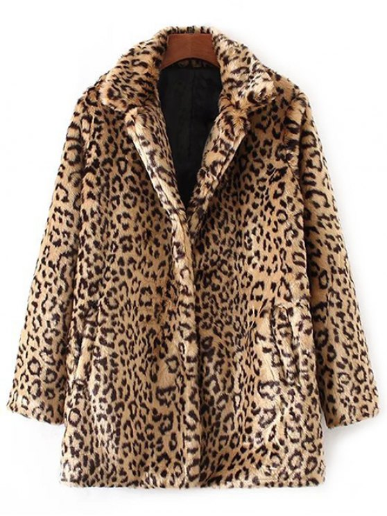 Leopard Pattern Faux Fur Coat - KHAKI S Mobile