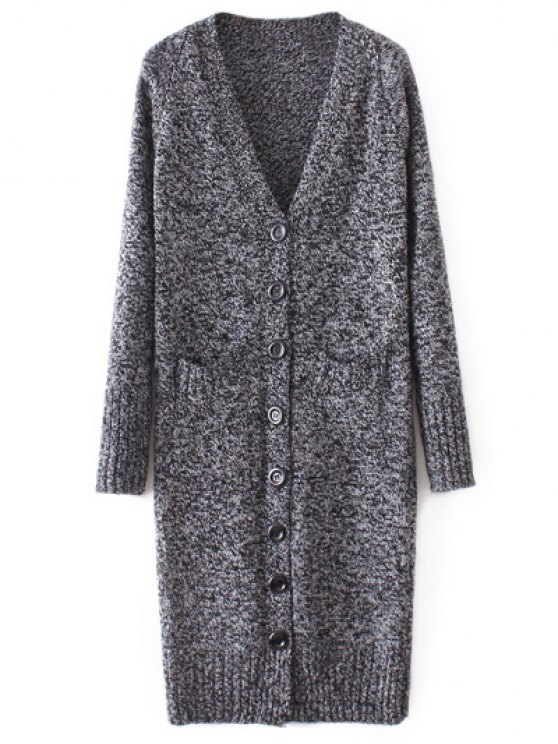 Longline V Neck Button Up Cardigan - DEEP GRAY M Mobile