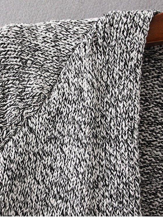 Longline V Neck Button Up Cardigan - LIGHT GRAY M Mobile