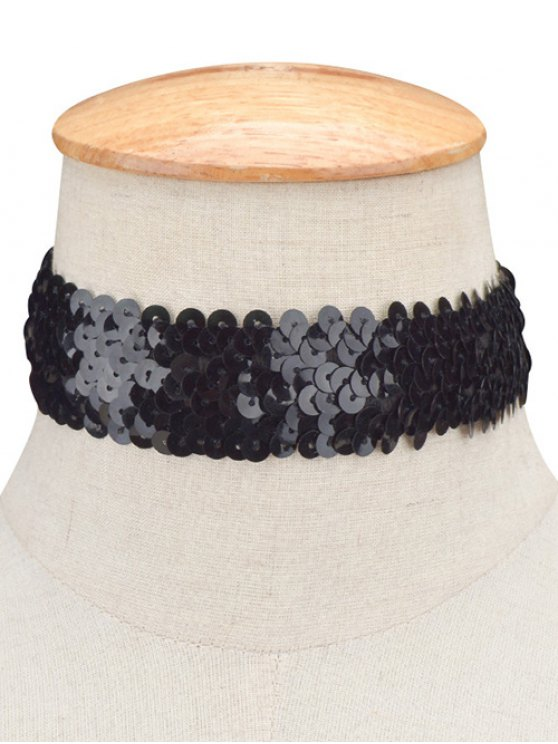 Sequin Wide Choker - BLACK  Mobile