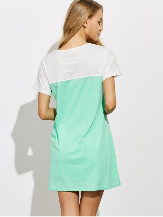 Lettering Short Sleeve Lounge Tee Dress - GREEN L Mobile