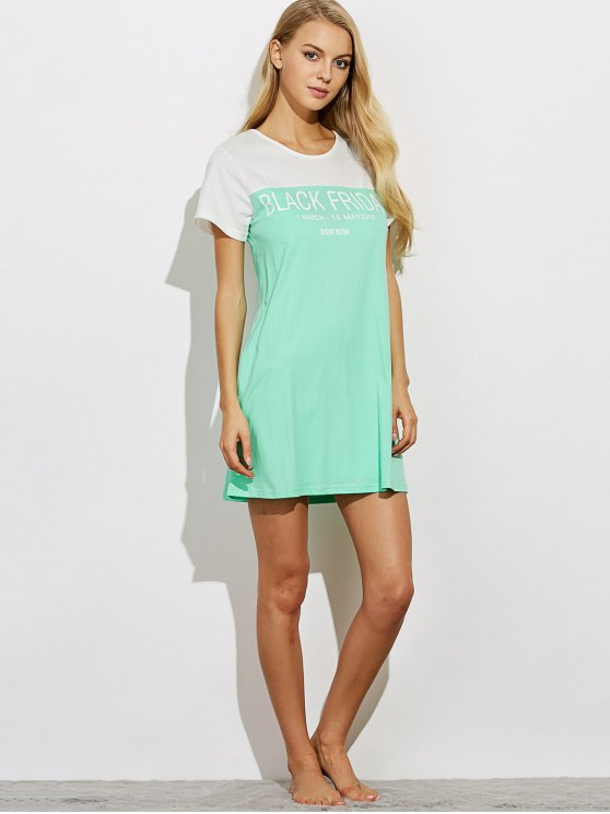 Lettering Short Sleeve Lounge Tee Dress - GREEN M Mobile