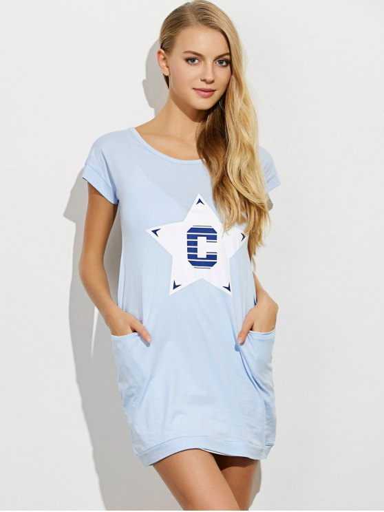 Afterhours Lounge Tee Dress With Pockets - LIGHT BLUE XL Mobile