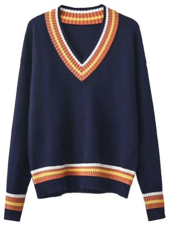 V Neck Cricket Sweater - PURPLISH BLUE ONE SIZE Mobile